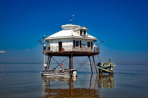 Mobile Bay, Alabama, Sea, Ocean, Water, Reflections