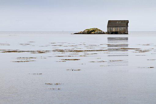 Boathouse, Sea, Sky, Water