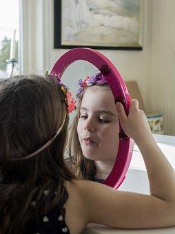 Girl, Child, Mirror, Childhood, Happy, Cute, Little