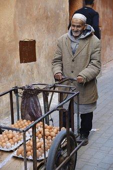 Morocco, Market, Fez, Man, Eggs