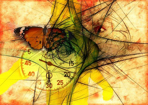 Butterfly, Stopwatch, Eye, Face, Composition, Dirty