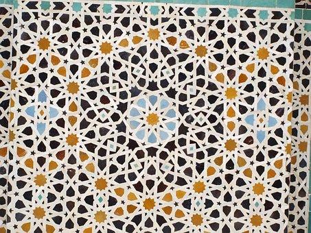 Mosaic, Tiles, Arab, Fez, Floor, Africa, Color, Medina