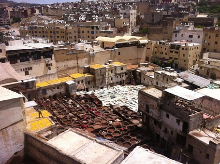 Morocco, Fez, Town, Old, City, Roof Tops, Buildings
