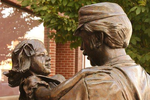 Home, Coming, Centennial, Statue, Little, Girl, Father