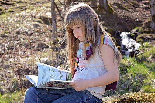 Human, Child, Blond, Long Hair, Face, Girl, Book, Read