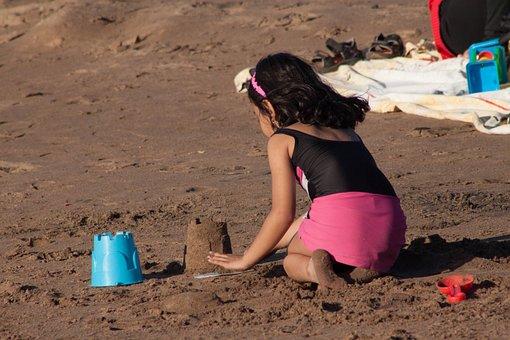 Sand, Beach, Girl, Little, Castle, Building, Vacation