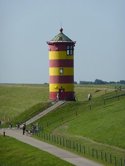Lighthouse, Dike, Sea, North Sea, Dike Road