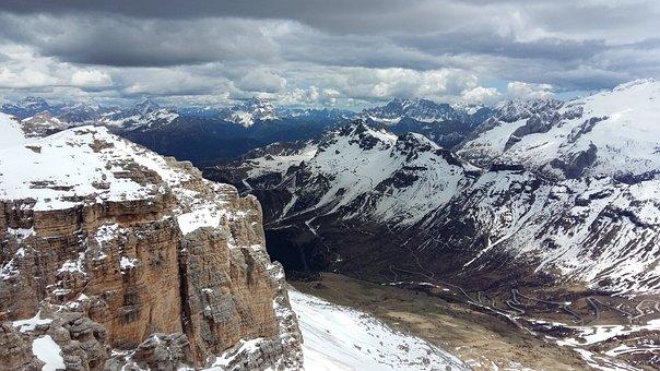 Mountains, Snow, Italy, Dolomites, Pordoi Pass