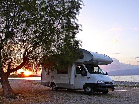 Motorhome, Camping, Beach, Sunset, Alone, Bliss
