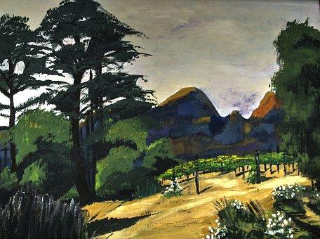 Painted Landscape, Acrylic Paint, Brush Strokes