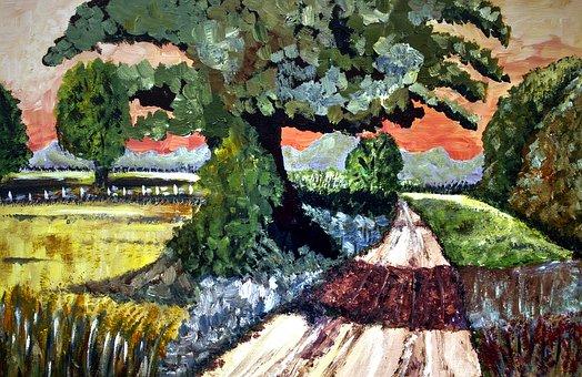 Painted Landscape, Brush Strokes, Acrylic Paint, Canvas