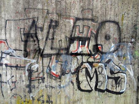 Graffiti, Concrete, Color, Spray Bottle, Concrete Wall