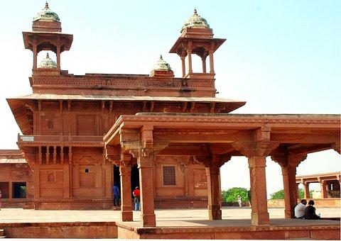 India, Fatehpur Sikri, Palace, Kiosk, Pink Sandstone