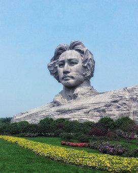 China, Hunan, Changsha, Orange Island, Head, Sculpture