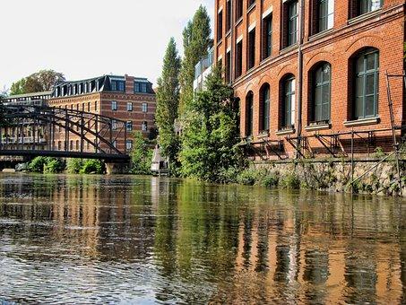 Leipzig, Karl Heine Canal, House, Water, River, Bridge