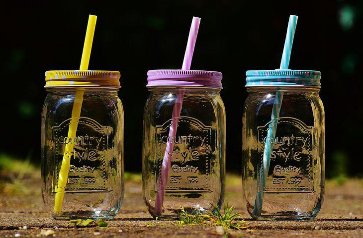 Drinking Glasses, Summer, Color, Straw, Points, Lid