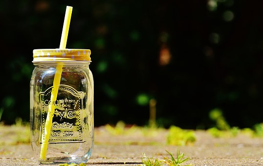 Trinkglas Summer, Color, Straw, Points, Lid