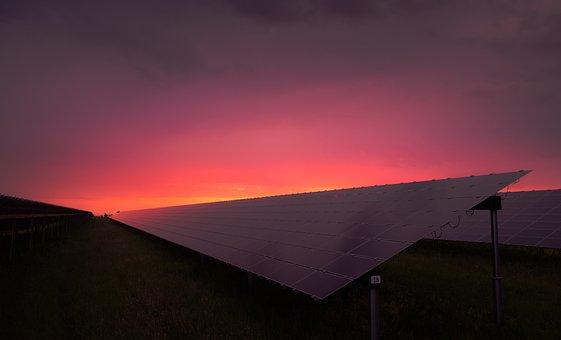 Grass, Sky, Solar Panels, Sunrise, Sunset