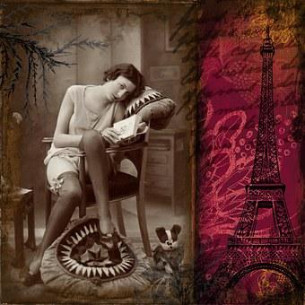 Vintage, Collage, Digital Art, Flapper, Lady, Floral