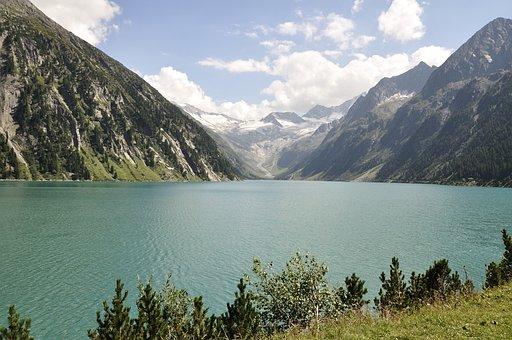 Alpine, Reservoir, Mountains, Austria, Water, Landscape