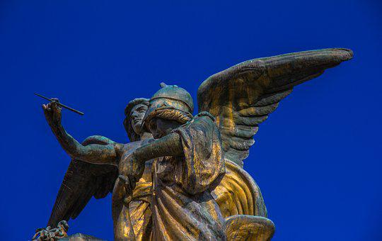 Angel, Blue, Blue Sky, Statue, Wing