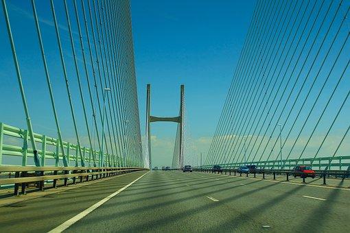 Bridge, Bristol, Wales, Severn Bridge, In The Morning