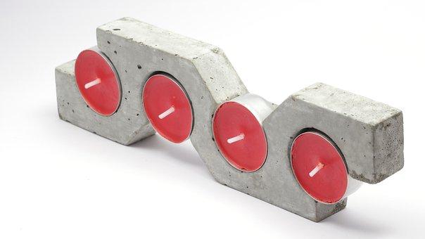 Candle, Tea Light, Tea Light Holder, Concrete, Cement