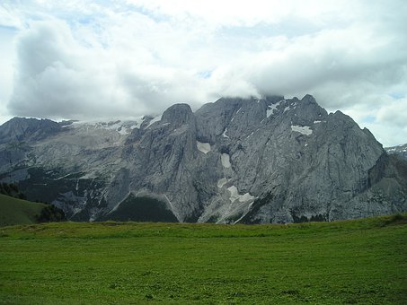 Marmolada North Wall, Rock Wall, Clouds, Cloudiness