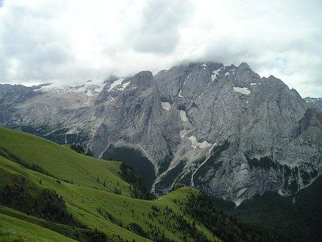 Marmolada North Wall, Glacier, Clouds, Cloudiness