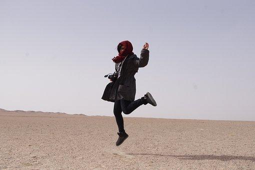 Tourism, Happy, Jumping, Dunhuang, Desert, China