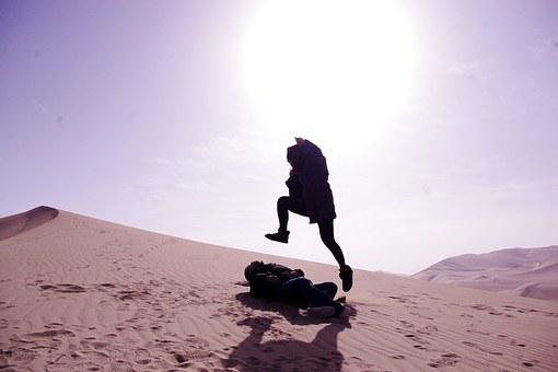 Tourism, Jumping, Desert, Happy, Dunhuang, Mingsha