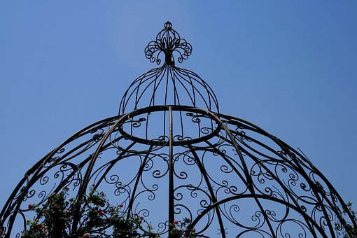 Feature, Construction, Garden, Metal, Ornate, Cage