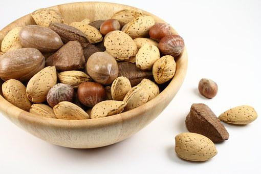 Nuts, Bowl, Food, Healthy, Snack, Wooden, Shell