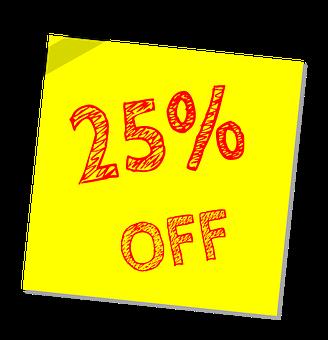 Twenty Five Percent Off, Discount, Sale, Offer