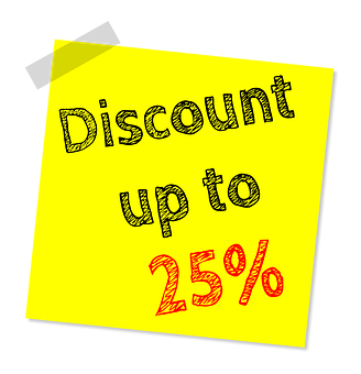 Up To Twenty Five Percent Off, Discount, Sale, Offer