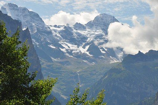 Mountains, Jungfraujoch, Switzerland, Clouds, Summit