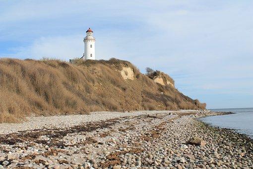 Lighthouse, Coast, Beach, Island, Beacon, Samsø