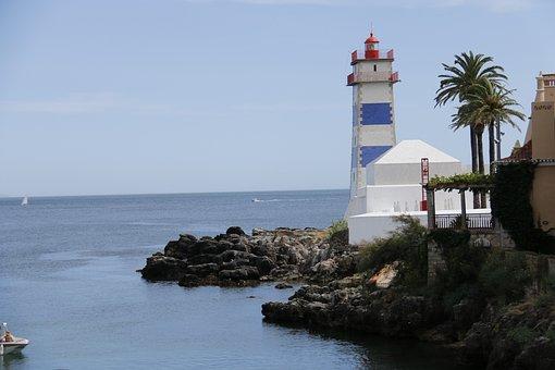 Lighthouse, Cascais, Portugal, Mar, Blue, Navigation