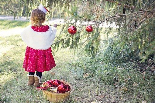 Girl, Child, Christmas Girl, Tree Decorating, Xmas