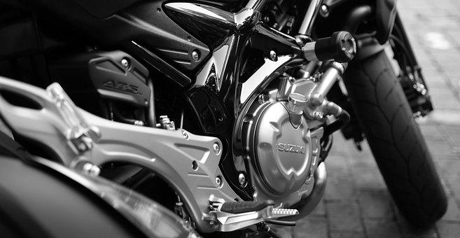 Motorcycle, Suzuki, Motor, Silver, Cylinder, Shiny
