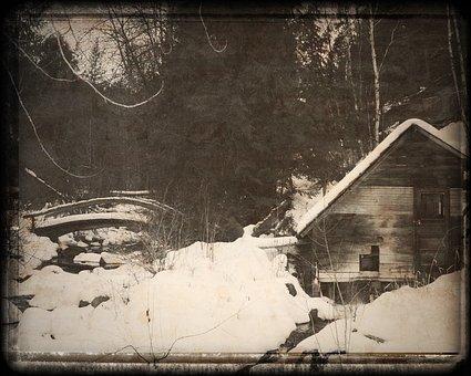 Old Mill, Bridge, Winter, Cariboo, Hwy 24