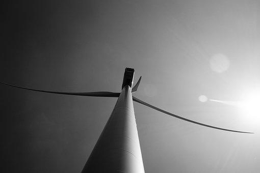 Lens Flare, Windmills, Light, Blade, Fog, Monochrome