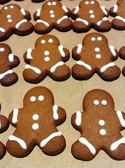 Gingerbread, Man, Cookies, Christmas, Xmas, Sweet