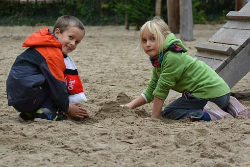 Children, Play, Boy, Girl, People, Sandbox, Sand