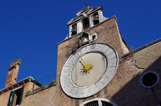Sun Clock, Venice, Time, Old Clock, 24 Hours
