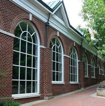Windows, Palladian, Sidewalk, Glass, Brick, Building