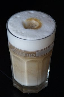 Latte Macchiato, Coffee, Glass, Batten, Cafe
