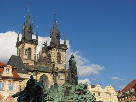 Prague, The Market, Czech Republic, Kośiół, Tower