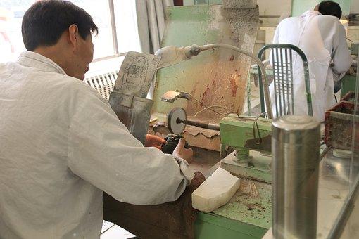 China, Jade, Carving, Ball, Stone, Asia, Factory