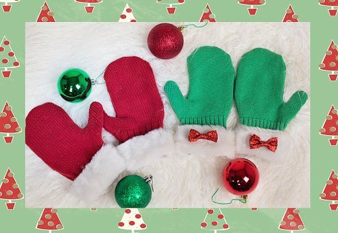 Mittens, Christmas Mittens, Red, Green, Xmas, Winter